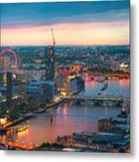 London At Sunset, Panoramic View Metal Print