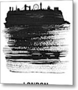 London Skyline Brush Stroke Black Metal Print