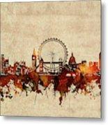 London Skyline Sepia Metal Print