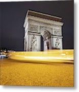 Long Exposure Picture Of Paris Arch De Triomphe At Night   Metal Print