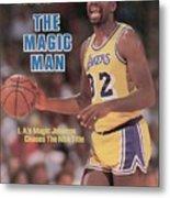 Los Angeles Lakers Magic Johnson, 1985 Nba Western Sports Illustrated Cover Metal Print