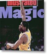 Los Angeles Lakers Magic Johnson, 1990 Nba Western Sports Illustrated Cover Metal Print