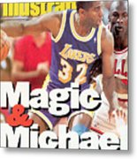 Los Angeles Lakers Magic Johnson, 1991 Nba Finals Sports Illustrated Cover Metal Print