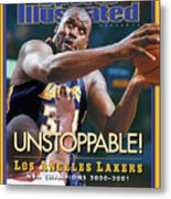 Los Angeles Lakers Shaquille Oneal, 2001 Nba Champions Sports Illustrated Cover Metal Print