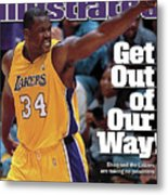 Los Angeles Lakers Shaquille Oneal, 2001 Nba Western Sports Illustrated Cover Metal Print