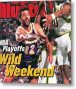Los Angeles Lakers Vlade Divac, 1995 Nba Western Conference Sports Illustrated Cover Metal Print