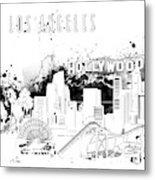 Los Angeles Skyline Panorama White Metal Print