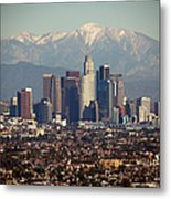 Los Angeles Skyline With Snow Capped Metal Print