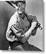 Lou Gehrig Holding Three Baseball Bats Metal Print