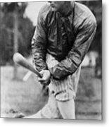 Lou Gehrig In Jacket Swinging Metal Print