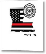 Louisiana Firefighter Shield Thin Red Line Flag Metal Print