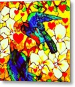 Love Birds In The Love Tree With Hibiscus Metal Print