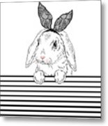Lovely Bunny Girl With Lace Ears Qnd Metal Print