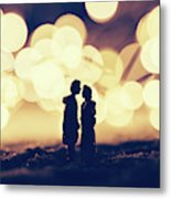 Loving Couple Standing In A Cozy Winter Scenery. Metal Print