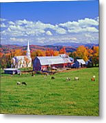 Lush Autumn Countryside In Vermont With Metal Print