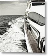 Luxury Yacht Sailing At High Speed In Metal Print