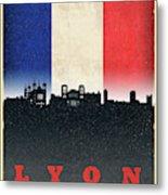Lyon France City Skyline Flag Metal Print