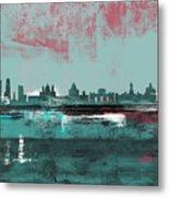 Madrid Abstract Skyline  Metal Print