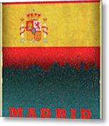 Madrid Spain City Skyline Flag Metal Print