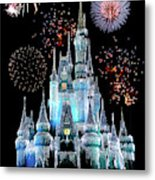 Magic Kingdom Castle In Frosty Light Blue With Fireworks 06 Metal Print