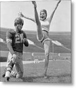 Mamie Van Doren Kicking On Football Metal Print