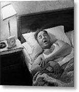 Man Asleep In His Bed Metal Print