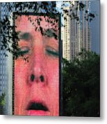 Man Face Crown Fountain Chicago Metal Print