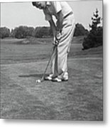 Man Golfing Metal Print