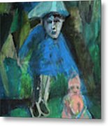 Man In A Park With A Baby Metal Print