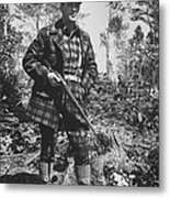 Man In Deer Hunting Outfit In Red & Blac Metal Print