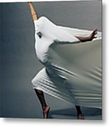 Man Pressing Into Fabric, Arms Extended Metal Print