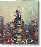 Man Reading Book While Sitting On Pile Metal Print
