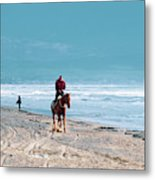 Man Riding On A Brown Galloping Horse On Ayia Erini Beach In Cyp Metal Print