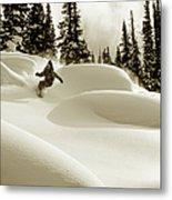 Man Snowboarding B&w Sepia Tone Metal Print
