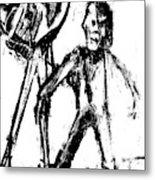 Man Standing With A Bird Metal Print