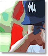 Man With Yankees Cap Metal Print