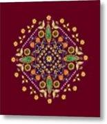 Mandala Flowering Series#2. Terracotta Metal Print