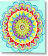Mandala Of Many Colors On Turquoise Metal Print