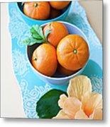 Mandarin Oranges On A Platter Metal Print