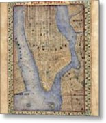 Manhattan New York Antique Map Brooklyn Hand Painted Metal Print