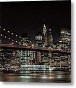 Manhattan Skyline And Brooklyn Bridge Idyllic Nightscape - Panoramic Metal Print