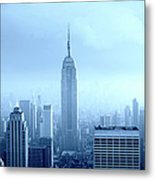 Manhattan Skyline In The Fog, Nyc. Blue Metal Print
