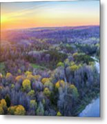 Manistee River Sunset Aerial Metal Print