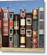 Many Books With Windows Doors Lamps In Metal Print