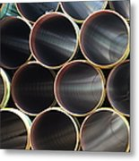 Many Steel Pipes In Large Stack Metal Print