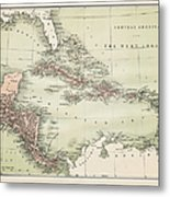 Map Od The Caribbean 1860 Metal Print