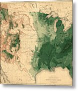 Map Of American Forests 1883 Metal Print