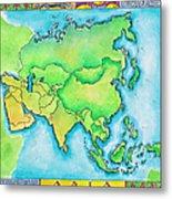 Map Of Asia Metal Print
