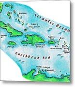 Map Of Caribbean Islands Metal Print