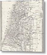 Map Of Palestine, Steel Engraving Metal Print